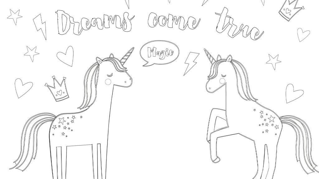 Printable unicorn colouring page